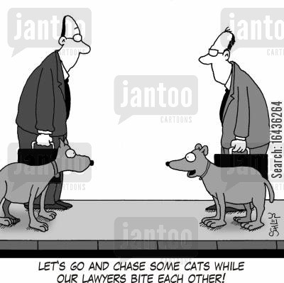 animal law cartoon humor: 'Let's go and chase some cats while our lawyers bite each other!'