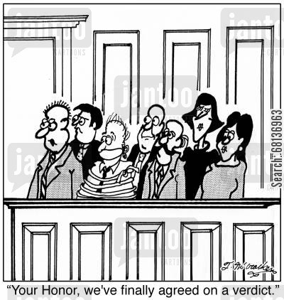 defense attorney cartoon humor: 'Your Honor, we've finally agreed on a verdict.'