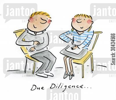 business teams cartoon humor: Due Diligence...