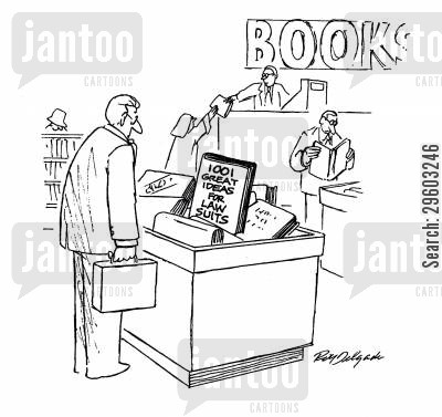 book stores cartoon humor: 101 Great Ideas For Law Suits.