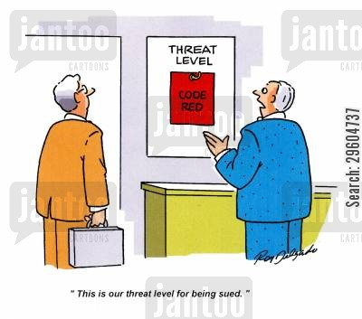threats cartoon humor: 'This is our threat level for being sued.'