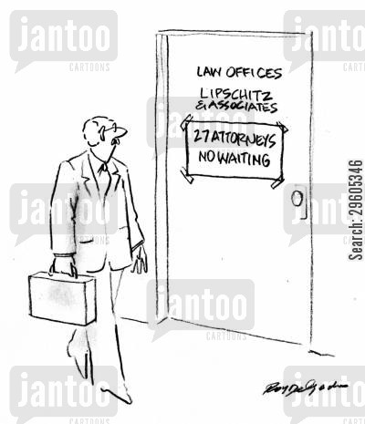 law office cartoon humor: 27 attorneys. No waiting.