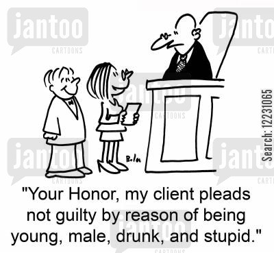 pleas cartoon humor: 'Your Honor, my client pleads not guilty by reason of being young, male, drunk, and stupid.'