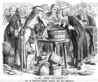 wig and gown cartoon humor: Law and Lunacy; Or, a Glorious Oyster Season for the Lawyers