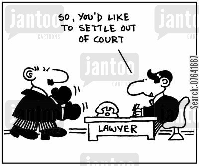 settled cartoon humor: 'So, you'd like to settle out of court.'