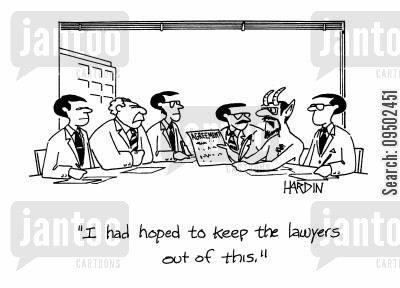 law suits cartoon humor: 'I had hoped to keep the lawyers out of this.'
