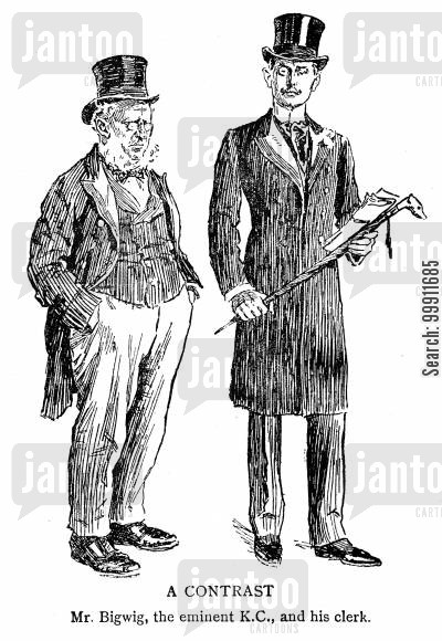 legal clerk cartoon humor: The contrast between a barrister and his clerk