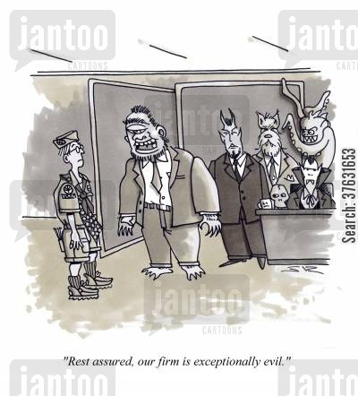 legal firms cartoon humor: 'Rest assured, our firm is exceptionally evil,'