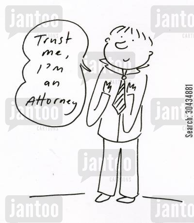 counsels cartoon humor: 'Trust me, I'm an Attorney.'