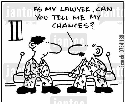 legal defense cartoon humor: 'As my lawyer can you tell me my chances?.'