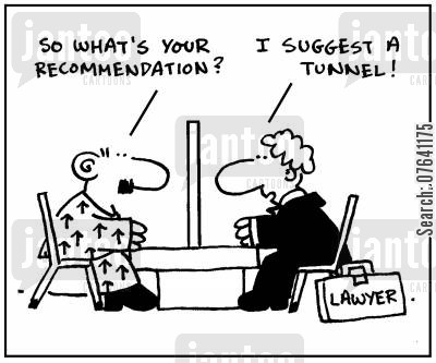 escape plans cartoon humor: 'So what's your recommendation? I suggest a tunnel.'
