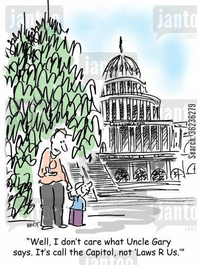 capitol building cartoon humor: 'Well, I don't care what Uncle Gary says. It's call the Capitol, not 'Laws R Us.''