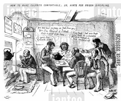 lavish cartoon humor: Prisoners being allowed luxury and comfort as a way to increase prison discipline