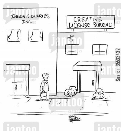 bureaus cartoon humor: Man sees Creative License Bureau