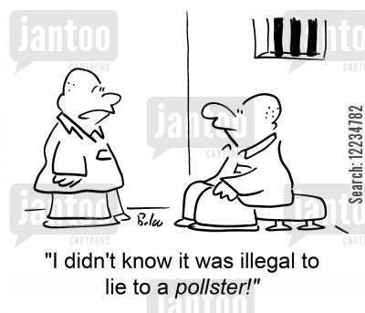 politicans cartoon humor: 'I didn't know it was illegal to lie to a pollster!'
