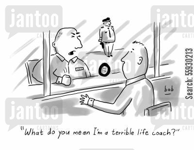 life coach cartoon humor: Guy in prison asking if he is a terrible life coach.