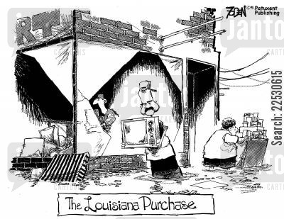 looters cartoon humor: Louisiana Purchase.