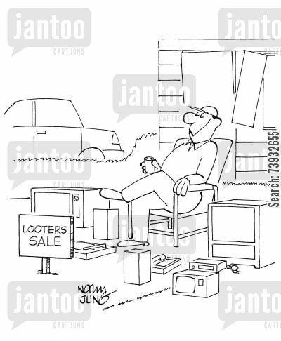 black market cartoon humor: Looter has a garage type sale calling it a Looters Sale