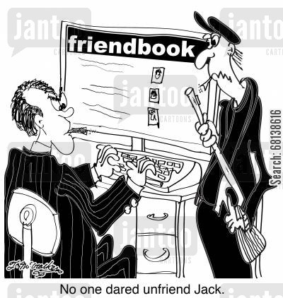 hitman cartoon humor: No one dared to unfriend Jack.