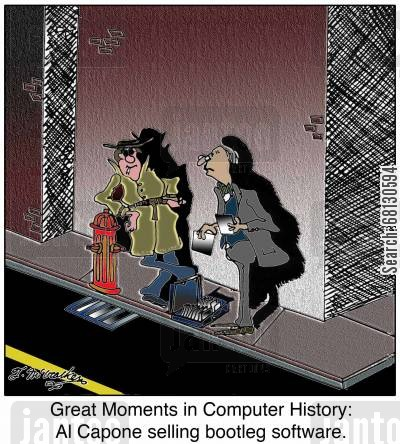 al capone cartoon humor: Great Moments in Computer History: Al Capone selling bootleg software.
