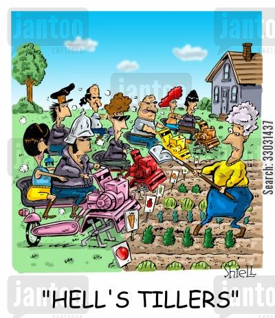 back yard cartoon humor: HELL'S TILLERS.