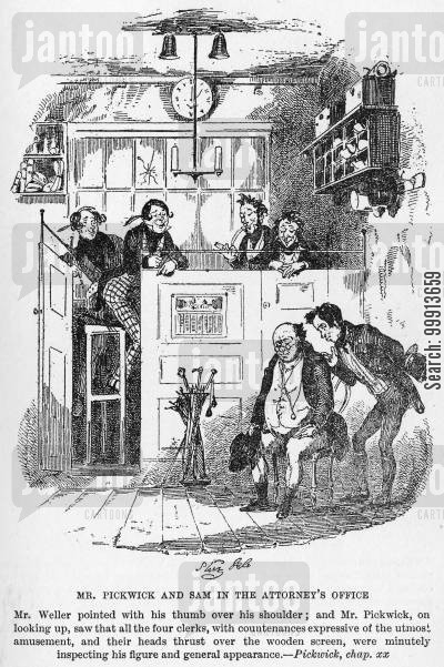 samuel pickwick cartoon humor: Mr. Pickwick and Sam in the attorney's office