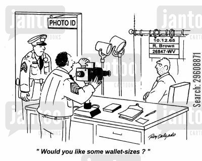 mugger cartoon humor: 'Would you like some wallet-sizes?'