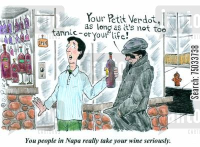drunkenness cartoon humor: 'You people in Napa really take your wine seriously.'