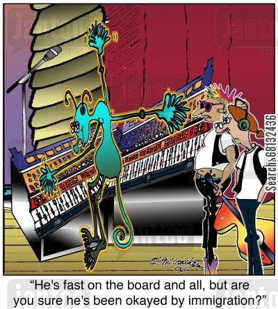 border patrol cartoon humor:  'He's fast on the board and all, but are you sure he's been okayed by immigration?'