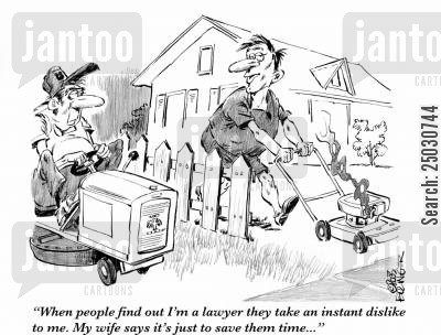 bloodsucker cartoon humor: 'When people find out I'm a lawyer they take an instant dislike to me. My wife says it's just to save them time...'