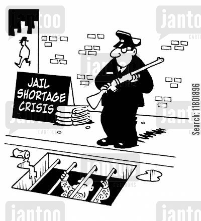 jail shortage cartoon humor: Jail shortage crisis as policemen guard men under a gutter.