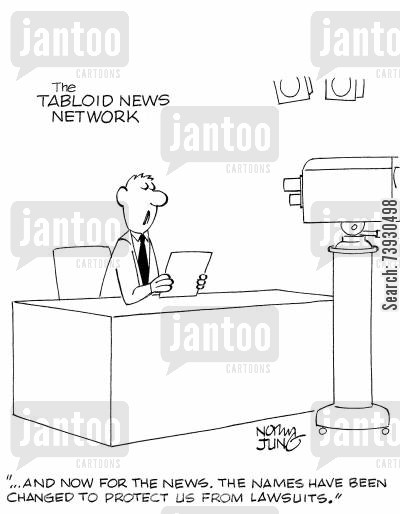 anchormen cartoon humor: '...and now for the news. The names have been changed to protect us from lawsuits.'