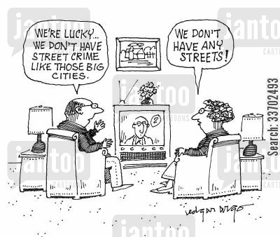 evening news report cartoon humor: 'We're lucky...we don't have street crime like those big cities.'