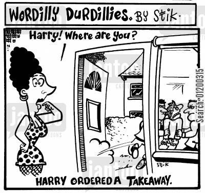 kidnappers cartoon humor: Harry ordered a takeaway.