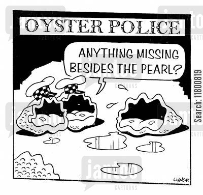 inefficiency cartoon humor: Anything missing besides the pearl?