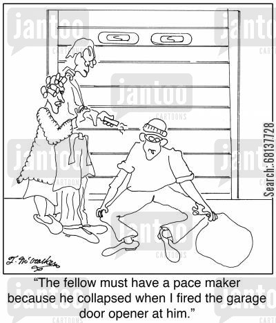 electromagnetic surge cartoon humor: 'The fellow must have a pace maker because he collapsed when I fired the garage door opener at him.'