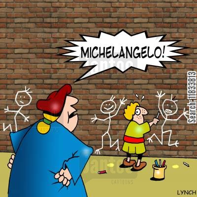 graffiti artists cartoon humor: Michelangelo Caught Creating Graffiti
