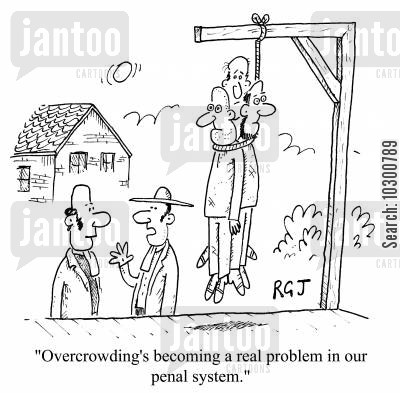 penal system cartoon humor: Overcrowding's becoming a real problem in our penal system