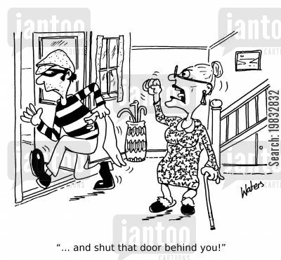 burglaries cartoon humor: '...and shut that door behind you!'
