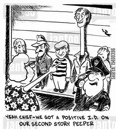 obviousness cartoon humor: ...We got a positive ID on our second story peeper.