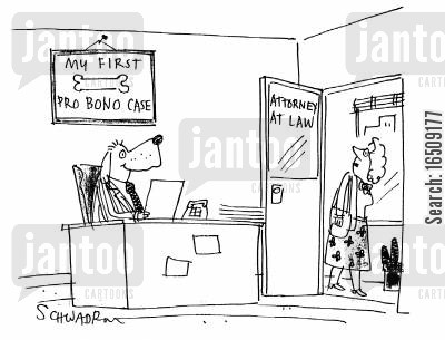 pro bono cartoon humor: My first pro bono case.