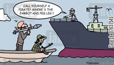 abductions cartoon humor: 'Call yourself a pirate? Where's the parrot and peg leg?'