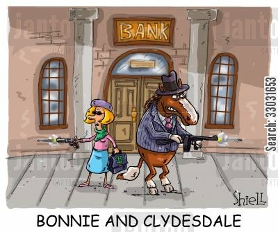 outlaws cartoon humor: BONNIE AND CLYDESDALE.