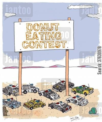 police department cartoon humor: Donut Eating Contest,