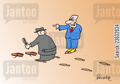 clues cartoon humor: Detective Looking for Clues.