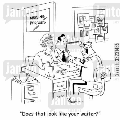 police sketch cartoon humor: 'Does that look like your waiter?'