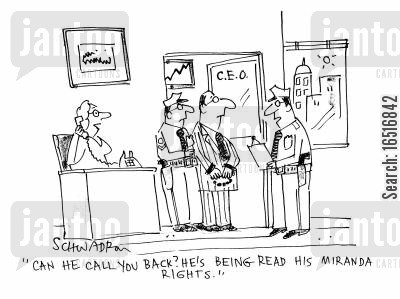 secretaries cartoon humor: 'Can he call you back? He's being read his Miranda rights!'