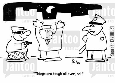 filth cartoon humor: 'Things are tough all over, pal.'