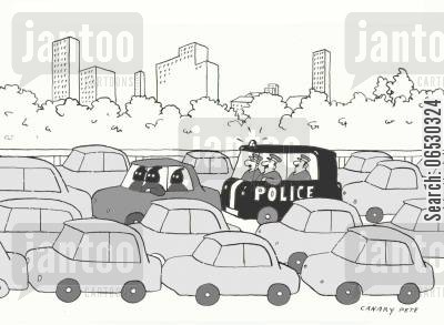 traffic jam cartoon humor: police chasing robbers in traffic jam