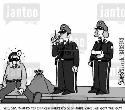 knocked out cartoon humor: 'Yes, sir... Thanks to Officer Parker's self-made cake, we got the guy!'